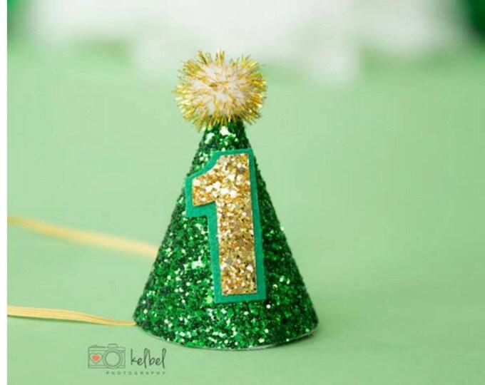 Mini St. Patrick's Day Glittery Birthday Party Hat First Birthday, baby, Birthday, cake smash, 1st birthday, baby birthday