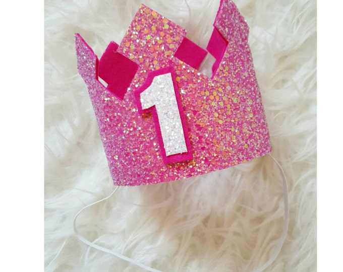 Hot Pink Glittery Birthday Crown | Birthday Girl Crown | Cake Smash |1st Brthday | Birthday |Baby Birthday Party | Ready to Ship
