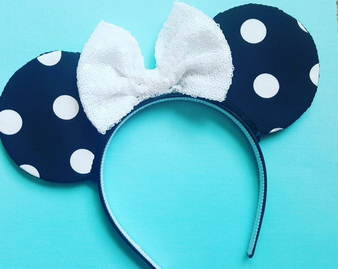 Polka Dot Mouse Ears || Mouse Ears || Ears || Polka Dot Ears || Mouse Ears Headband || Mouse Ears || Sparkle Mouse Ears ||