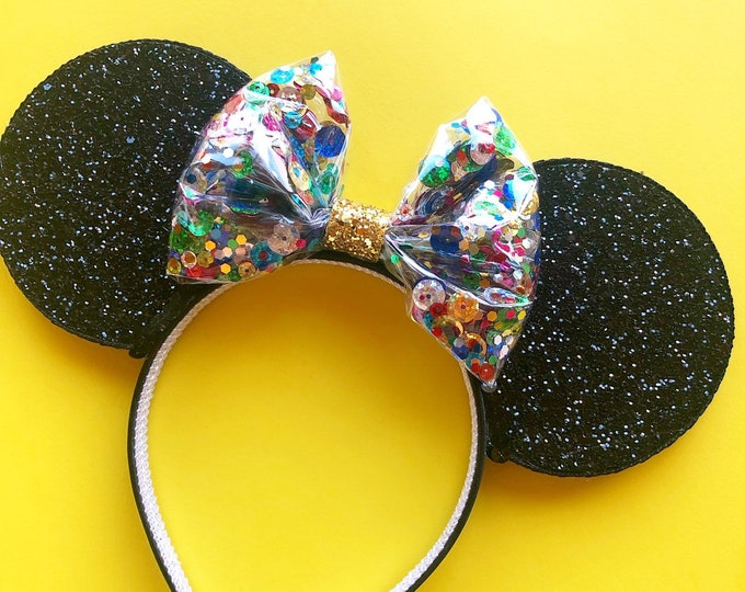 90th BIRTHDAY Minnie Mouse Ears | Mickey Birthday | Ears | Mouse Birthday| | Mickey Style | Mouse Birthday || Confetti Minnie Mouse Ears