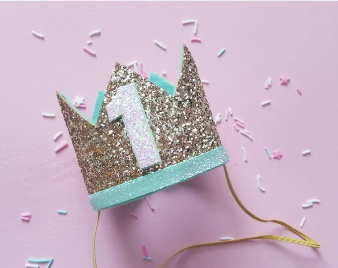Birthday Crown || Mint and Gold Birthday || Gold Crown || Birthday Girl || First Birthday || Baby Crown || Birthday Girl