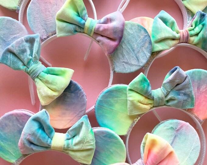 Velvet Tie Dye Minnie Mouse Ears || Velvet ||  Mouse Ears || Mouse Ears || Mouse Ears || Velvet Mouse Ears