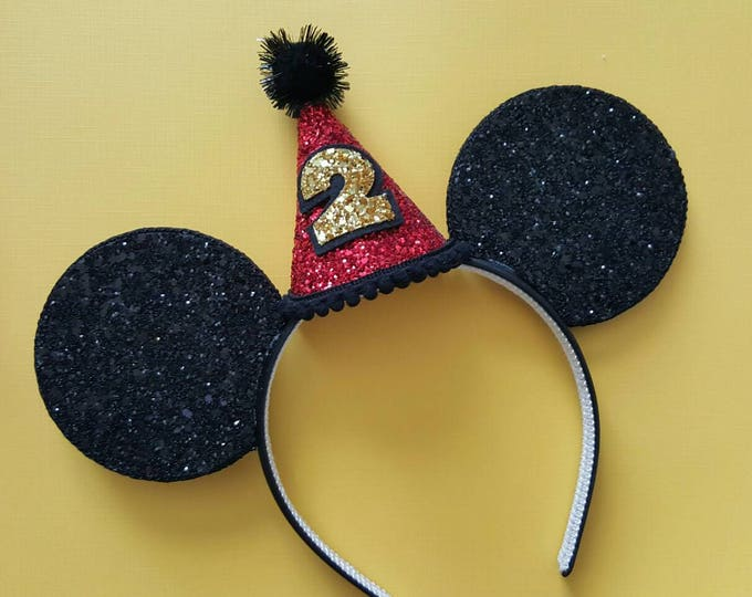 Glittery Mouse Ears Headband || Birthday Ears || Birthday Mouse Ears  ||Mouse Headband || Ears || Mouse Birthday