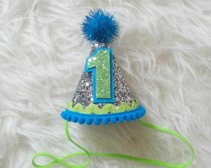 Under the Sea Mini Glittery Birthday Boy Party Hat | Boy Birthday | 1st Birthday Party | Ready To Ship,
