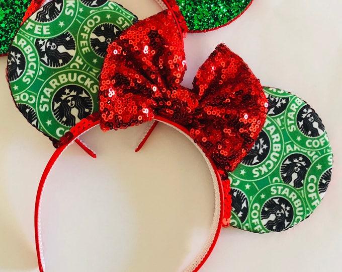 Christmas Starbucks Mouse Ears || Mouse Ears || Mouse Ears Headband || Minnie Mouse Ears || Sparkle Mouse Ears || Mickey Ears