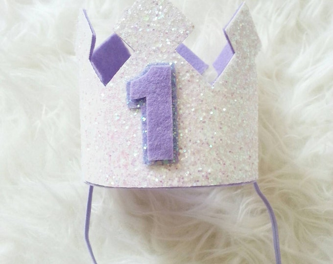 Glittery Birthday Crown | White and Lilac | 1st Birthday Crown | Girl Birthday Crown | Baby | Cake Smash