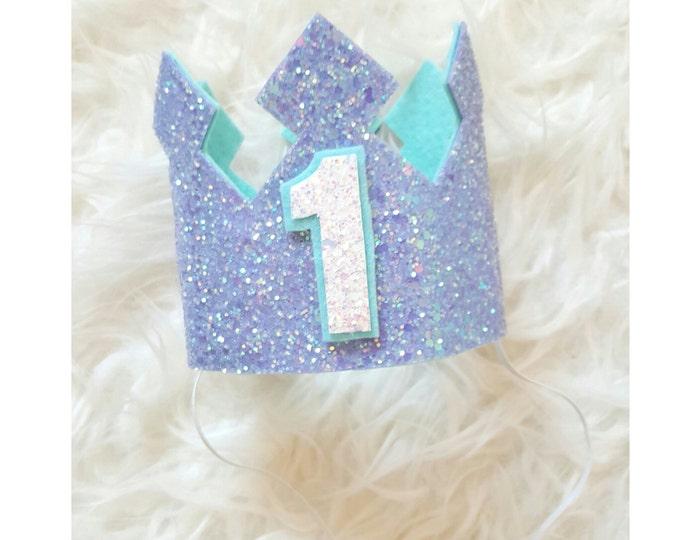 Aqua and Lilac Glittery Birthday Crown | Birthday Girl Crown | Cake Smash | 1st Birthday | Birthday | Baby birthday | Mermaid theme