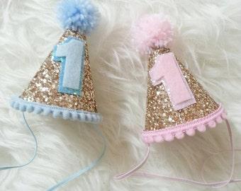 da726273876 Birthday Pink and Blue Glittery Mini Party Hats