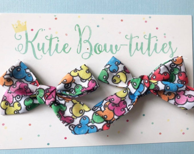 Mickey Balloons Pigtail Bows Clip or Headband || Hand Tied Bow || Hand tied Pigtail Bow || Handtied || Large Bow || balloon Bow