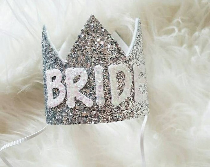Silver and White BRIDE Crown Headband