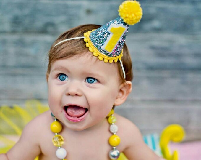 "Mini Glittery ""You are my Sunshine"" First Birthday Party Hat 