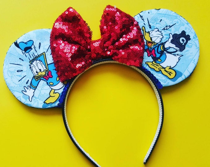Duck Mouse Ears  || Donald Ears || Mouse Ears Headband ||  Mouse Ears || Sparkle Mouse Ears ||
