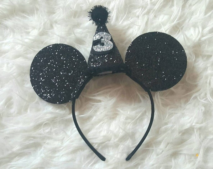 Glittery Mouse Ears Headband | Birthday Ears | Mouse Birthday | Minnie Mouse Headband | Minnie Ears | Mickey Mouse Birthday | Minnie