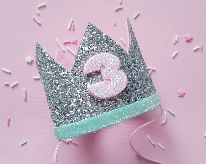 Birthday Crown || Pink and Mint Birthday || Silver  Crown || Birthday Girl || 3rd Birthday || 3 Crown || Birthday Girl || third