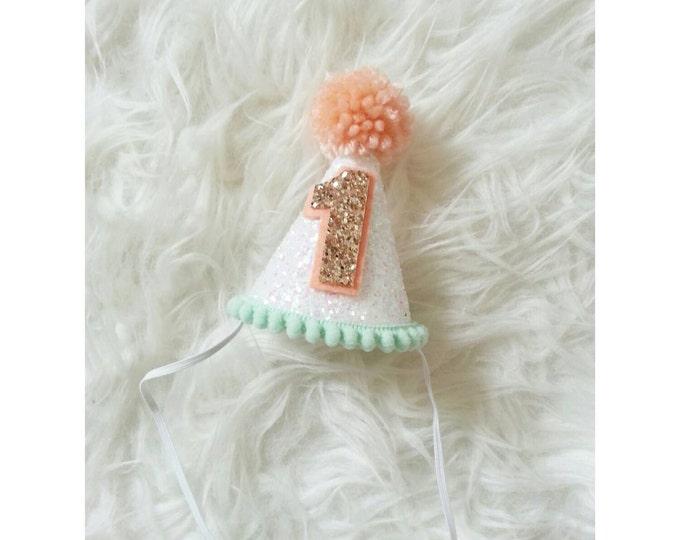Mini Glittery Birthday Party Hat, | Birthday | Cake Smash | 1st Birthday | Baby Birthday | White and Mint