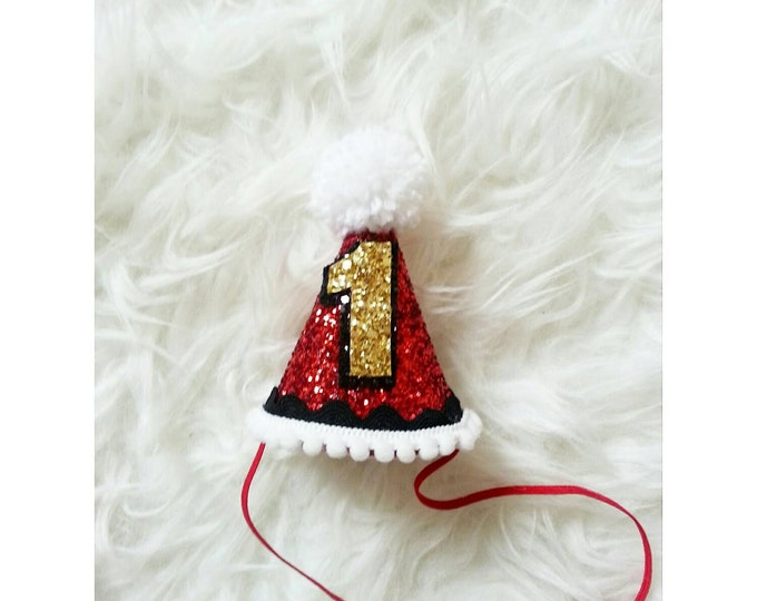 Ringmaster Glittery Mini Party Hat Headband | Black/ Red Party Hat | Birthday Girl | First Birthday | Circus Theme | Ready to Ship