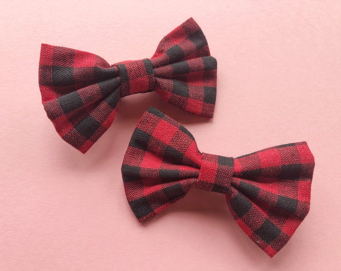 Buffalo Plaid Christmas Bows || Flurry Bow || christmas hair bow || Baby Bow