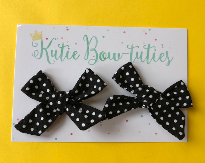 Black and White Polka Dot Pigtail Bows Clip or Headband || Hand Tied Bow || Hand tied Pigtail Bow || Handtied || Large Bow || Minnie Mouse B