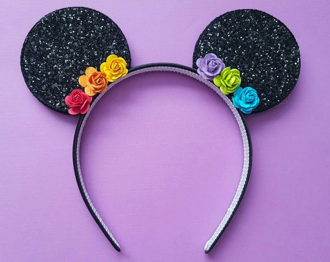 Glittery Rainbow Flower  Mouse Ears Headband || Mouse Birthday|| Mouse Headband || Ears