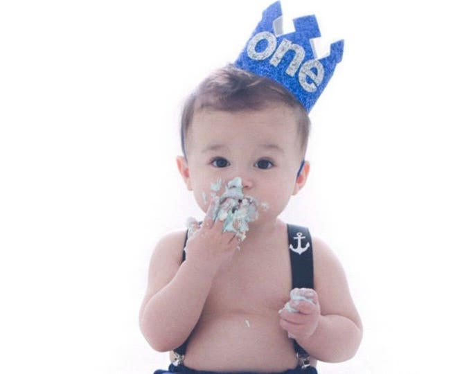 First Birthday Crown Blue and Silver | Birthday Party Hat Crown | Photo Prop | First Birthday | Ready to Ship