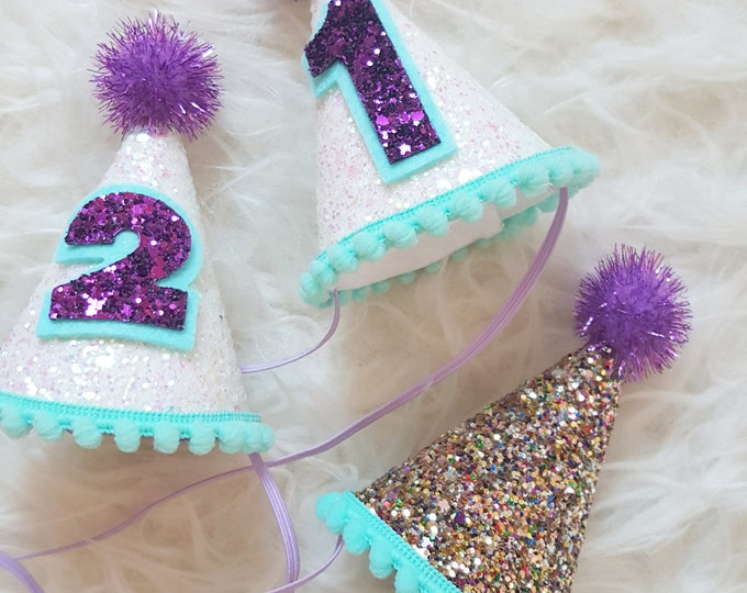 Mini Glittery Birthday Party Hat | Mermaid Birthday | Cake Smash | 1st Birthday | Baby Birthday | Mermaid Theme | Ready to Ship