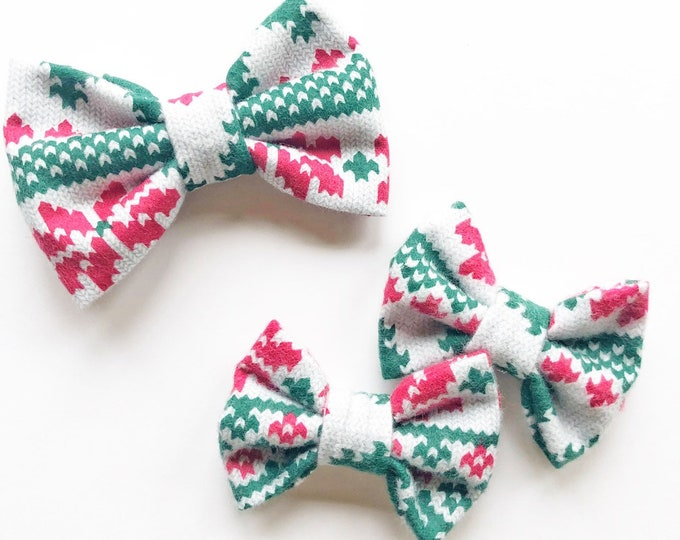 Flannel Christmas Bows || Sweater Bow || christmas hair bow || Baby Bow || Pigtail Bows