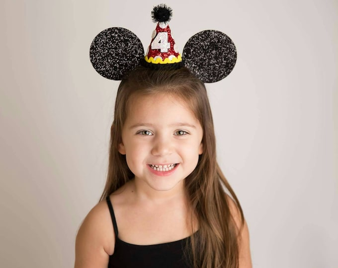 Glittery Mouse Ears Headband || Birthday Ears || Mouse Birthday  || Ears || Mouse Birthday ||