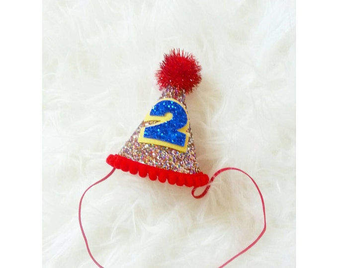 Circus Birthday Party Hat || 2nd Birthday Hat || Baby Photo Prop || 2nd Birthday Party || Ready to Ship