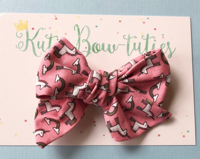 Hand Tied Unicorn Headband Bow Clip  || Hand Tied Bow || Hand tied Bow || Handtied || Large Bow || Unicorn Bow || Baby Bow