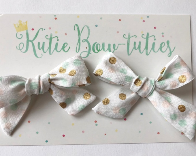 Polka Dot Pigtail Bows Clip or Headband || Hand Tied Bow || Hand tied Pigtail Bow || Handtied || Large Bow || Mint Bow