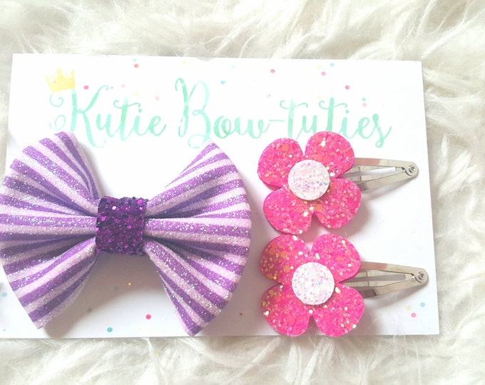 Glittery Doc McStuffins Bow | Purple Bow | Doc Bow | Flower Hair Clip
