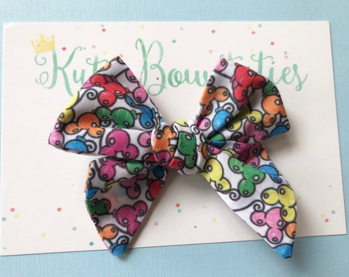 Mickey Balloons Bows Clip or Headband || Hand Tied Bow || Hand tied  Bow || Handtied || Large Bow || balloon Bow