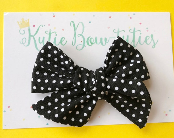 Black and White Polka Dot Bow Clip or Headband || Hand Tied Bow || Hand tied Bow || Handtied || Large Bow || Polka Dot Bow
