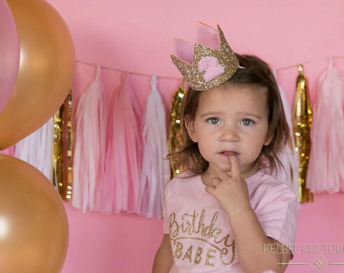 Glitter Birthday Crown || First Birthday Crown || Pink and Gold Crown || Girl Birthday Crown