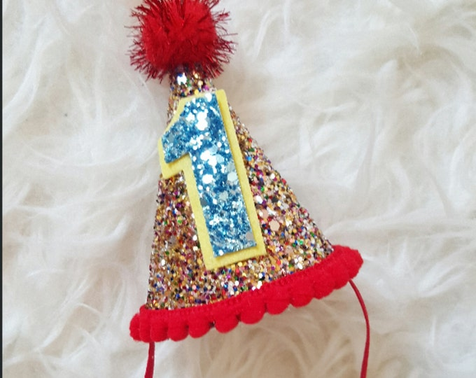 Mini Glittery Circus Birthday Party Hat | Cake Smash | First Birthday Party | 2nd Birthday | Ready to Ship