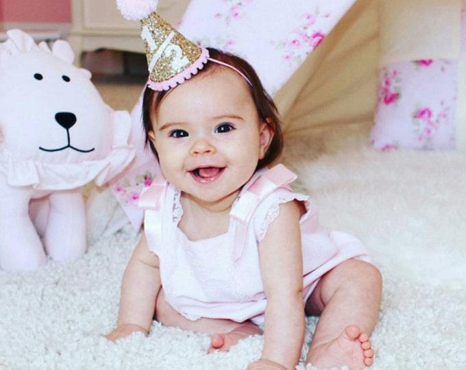 Half Birthday Mini Glittery Party Hat || 6 Month Girl Birthday || Cake Smash