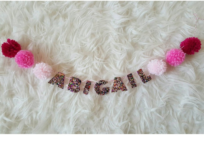 Customizable Glittery Name Banner | Name Banner | Children Party Decor