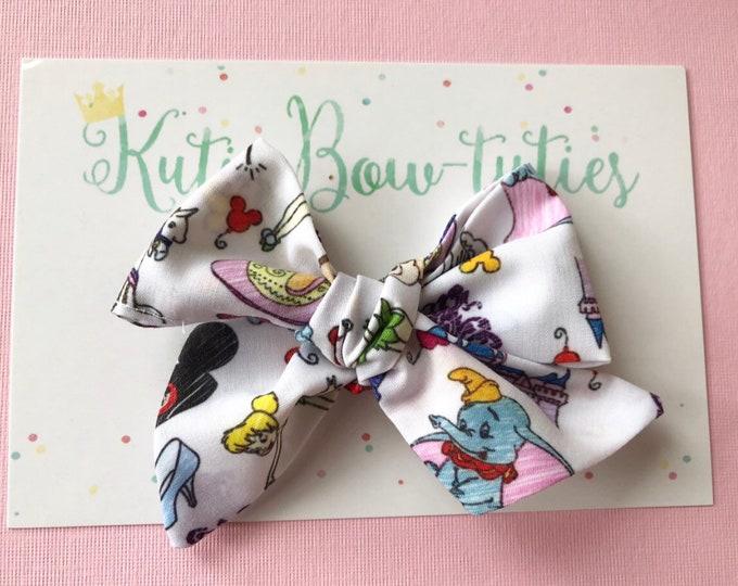 Mickey Doodle Bows Clip or Headband || Hand Tied Bow || Hand tied Bow || Handtied || Large Bow || Doodle Bow