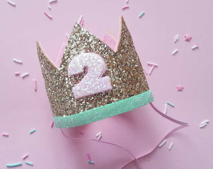 Birthday Crown || Pink and Mint Birthday || Pink and Mint || Gold Crown || Birthday Girl || 2nd Birthday || 2 Crown || Birthday Girl