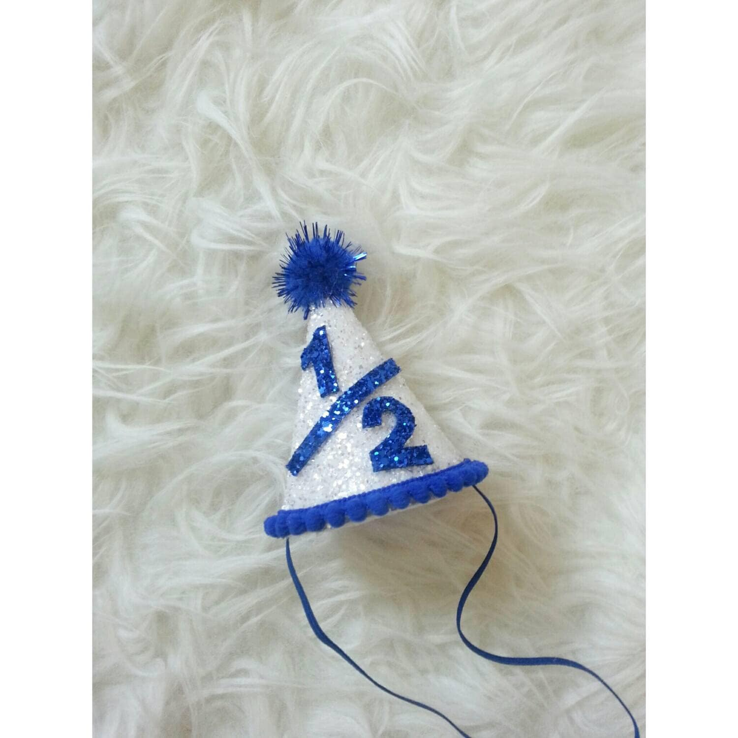 Half Birthday Mini Glittery White And Royal Blue Party Hat