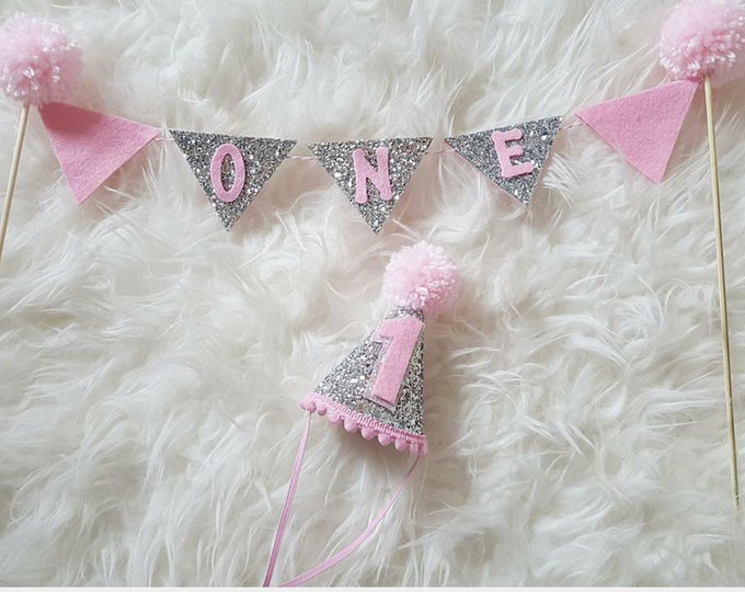 CAKE Bunting Flag Banner and Mini Party Hat Set for Cake Smash | Birthday Hat | Baby Hat | First Birthday Hat | Pink and Silver Birthday