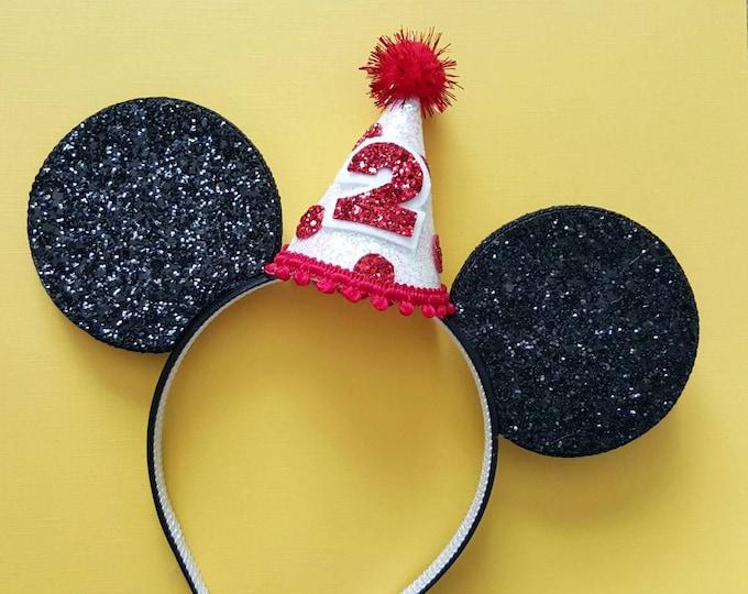 Glittery Mouse Ears Headband    Birthday Ears     Mouse Birthday    Birthday Mouse Ear Headband     Ears   