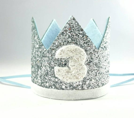 Birthday Crown || Blue and Silver Birthday || Silver Crown || Birthday Girl || 3rd Birthday || Baby Crown || Birthday