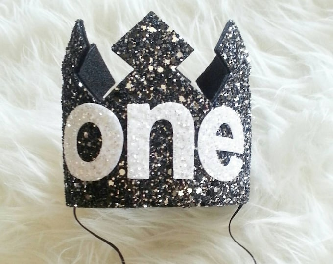 Glittery Black and White First Birthday Crown | Birthday Crown |Boy Birthday Crown | Cake Smash | Ready to Ship