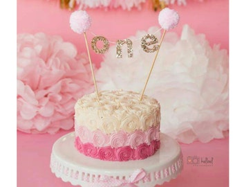 Pink and gold Cake Banner For First Birthday | First Birthday Cake Banner |Cake Smash