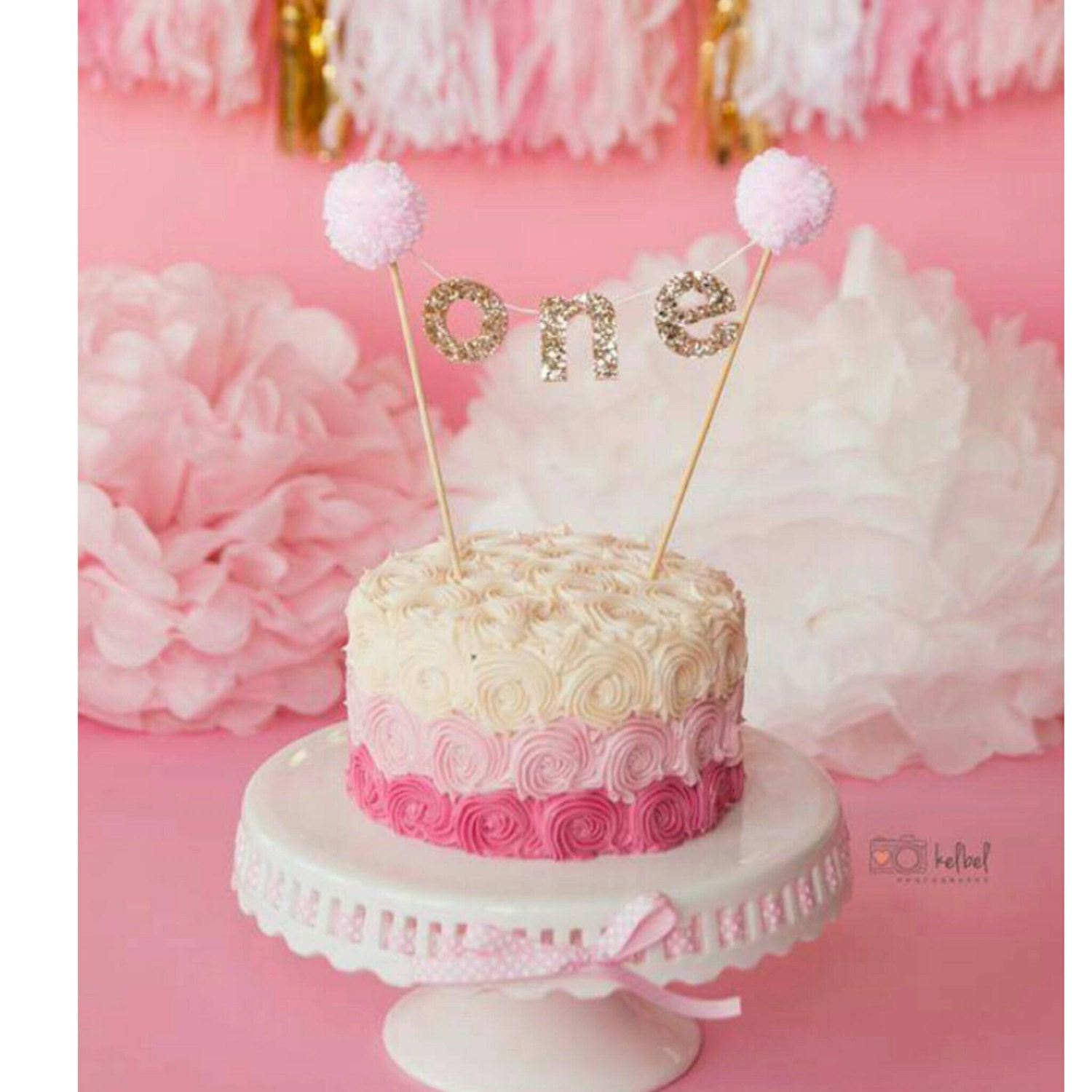 Pink And Gold Cake Banner For First Birthday