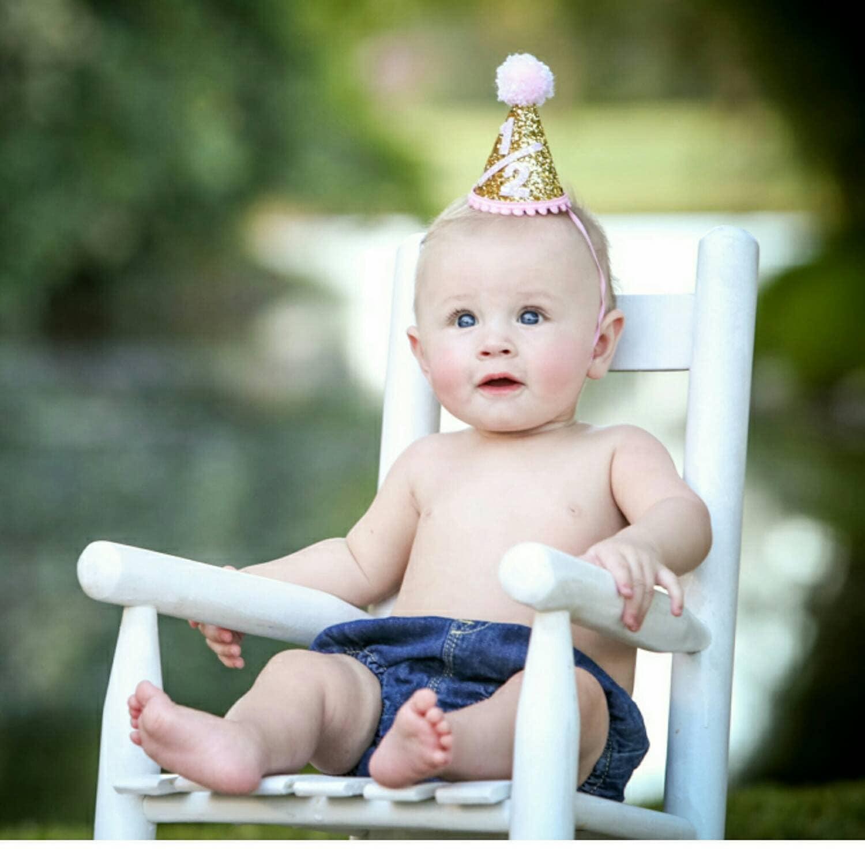 Half Birthday Mini Glittery Party Hat
