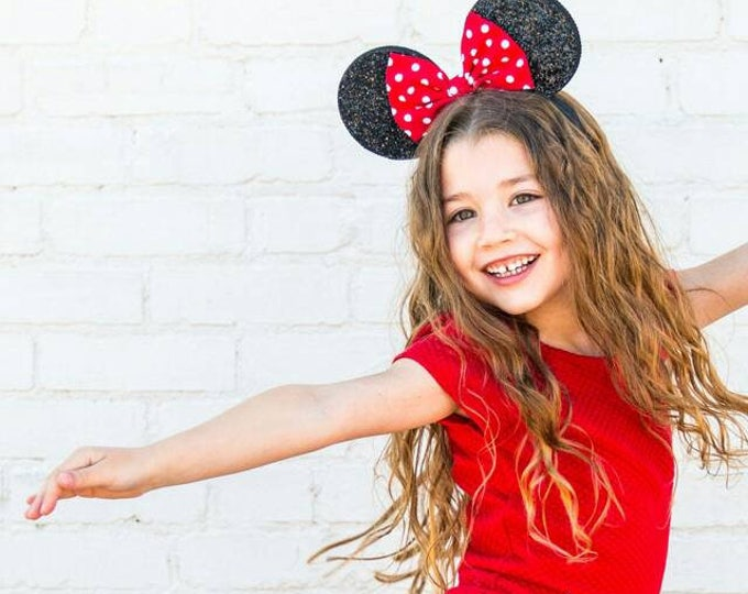Polka Dot Mouse Ears ||  Ears || Polka Dot Mouse Ears || Mouse Ears Headband || Ears || Sparkle Mouse Ears || RT