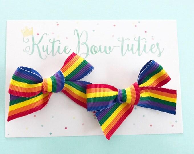 Rainbow Pigtail Bows Clip or Headband    Rainbow Birthday    Rainbow Pigtail Bow    Rainbow Hair    Large Bow   