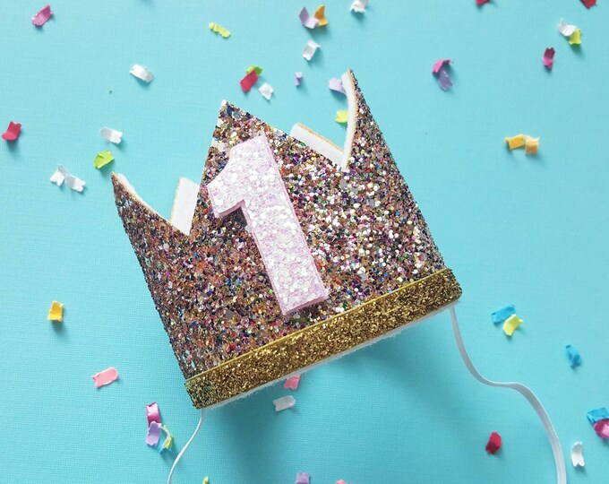 Glittery Birthday Crown   Birthday Crown   1st Birthday Crown   Girl Birthday Crown   Baby Birthday   Pink and confetti   Ready to Ship
